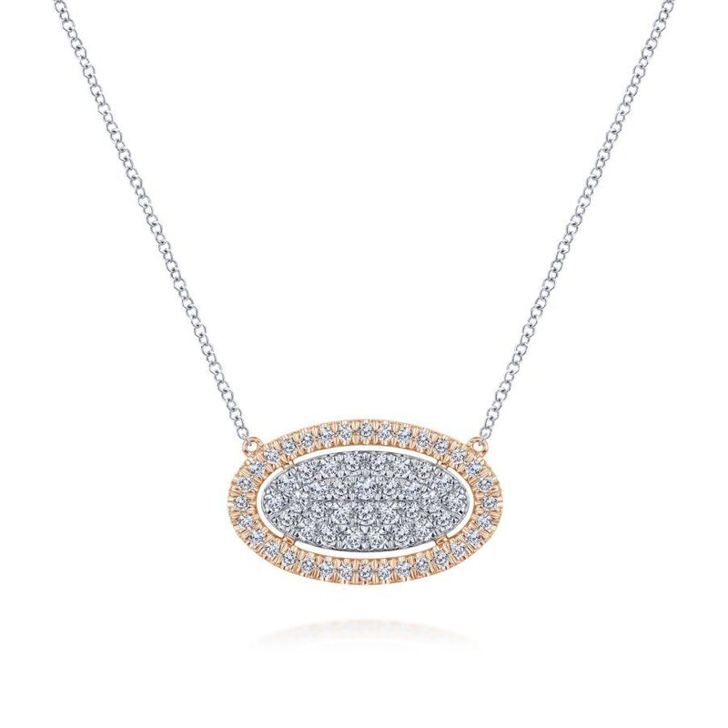 Gabriel Fashion Top Picks 14k White-Rose Gold Pave Diamond Oval Pendant Fashion Necklace