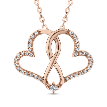 0.14 ct Round Diamond Interlocked Double Heart Pendant with Chain In Gold