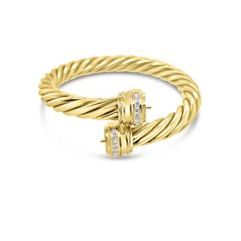 18K Yellow Gold Diamond Cable Twist Bracelet