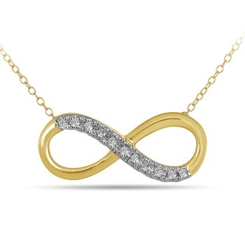 10K YG Diamond Infinity Necklace in Prong Setting