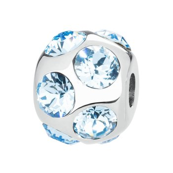 316L and aquamarine Swarovski® Elements crystals.