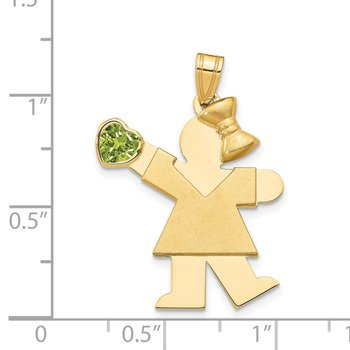 14k Girl with CZ August Birthstone Charm