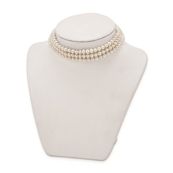 Sterling Silver Rhd-plt 5-6mm 3 rows FWC Pearl w/1.5in Choker