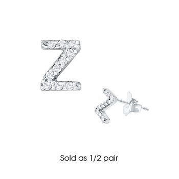 "Diamond Single Initial ""Z"" Stud Earring (1/2 pair)"