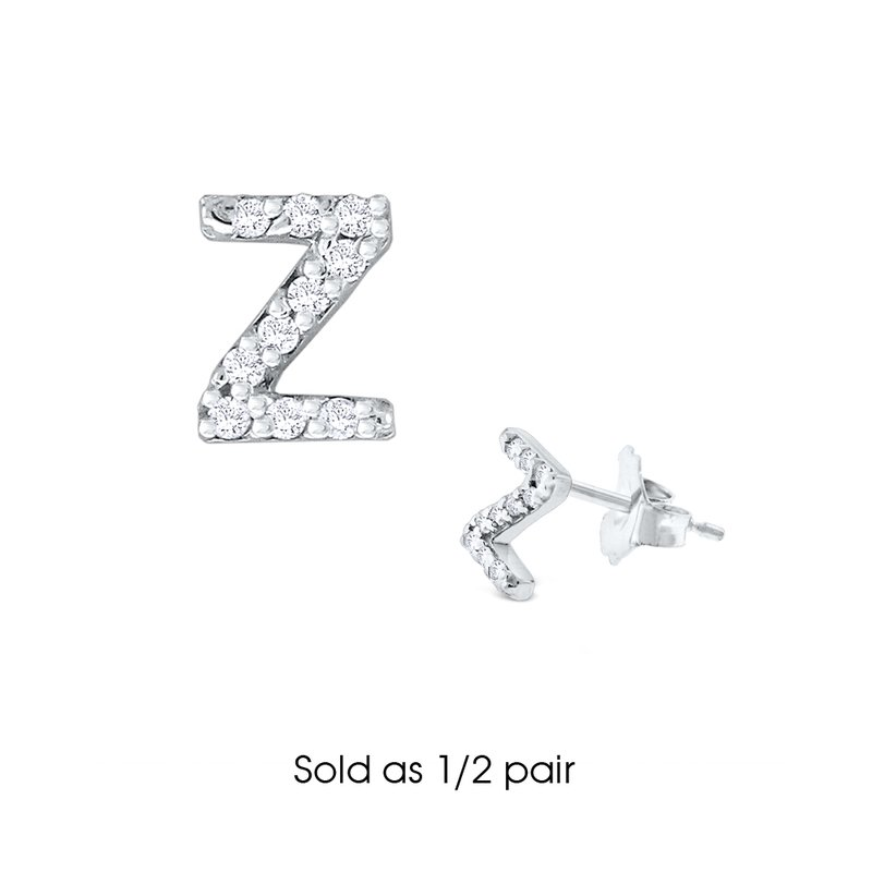 "KC Designs Diamond Single Initial ""Z"" Stud Earring (1/2 pair)"