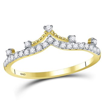 10kt Yellow Gold Womens Round Diamond Crown Tiara Fashion Band Ring 1/5 Cttw