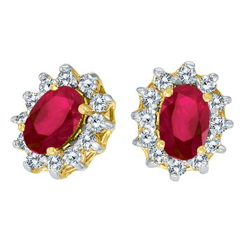 14k Yellow Gold Oval Ruby and .25 total ct Diamond Earrings