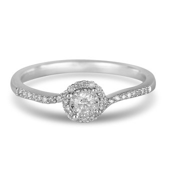 14K WG Diamond Halo Promise Ring