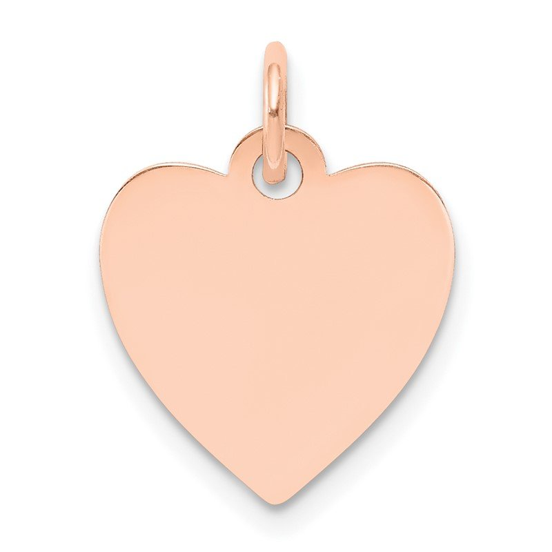 Quality Gold 14k Rose Gold Plain .018 Gauge Engraveable Heart Disc Charm