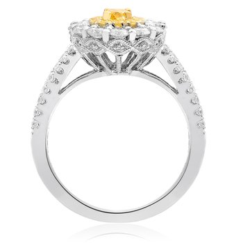 Oval Double Halo Yellow Diamond Ring