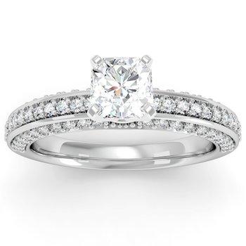 Vintage Round Diamond Pave set Engagement Ring