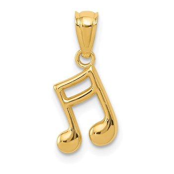 14k Gold Polished Music Note Pendant