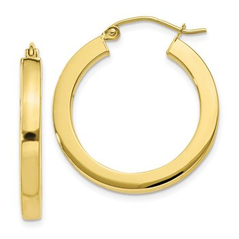 10k 3mm Polished Square Hoop Earrings