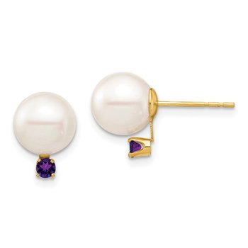 14K 8-8.5mm White Round Freshwater Cultured Pearl Amethyst Post Earrings