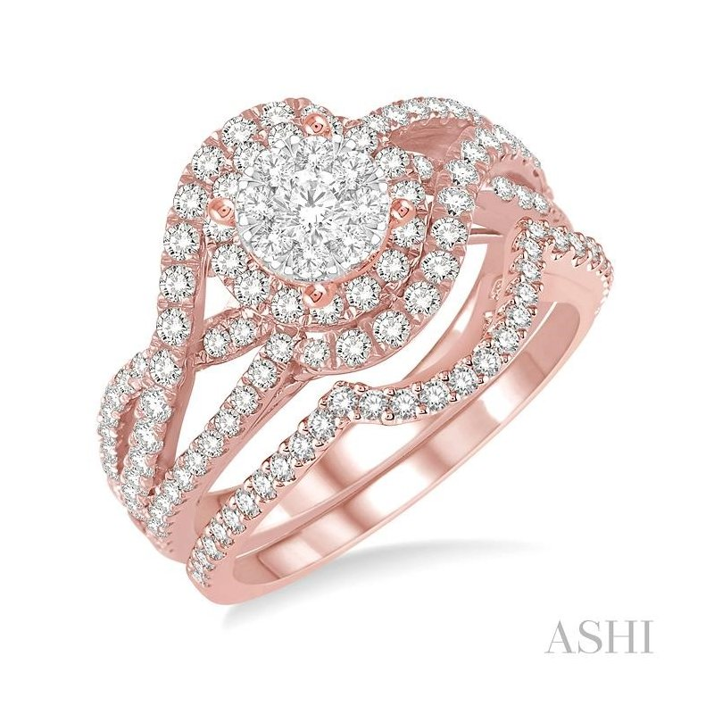 ASHI lovebright bridal diamond wedding set
