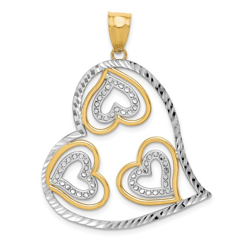 Quality Gold 14K w/ Rhodium Polished Hearts Inside Heart Pendant