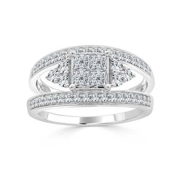 14 KT White gold Princess invisible Engagement ring (1.22 CTW)