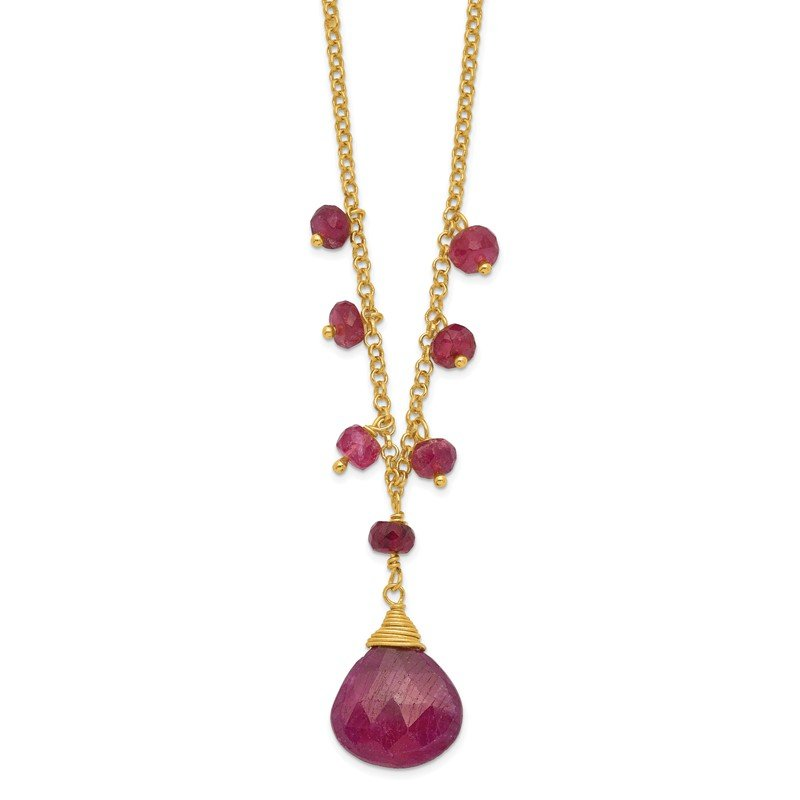 Quality Gold Sterling Silver & Vermeil Ruby Necklace