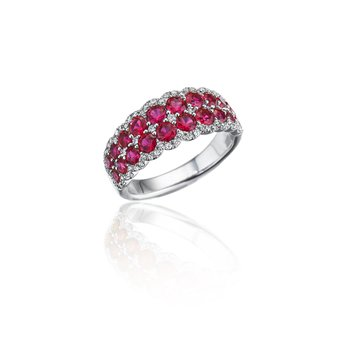 Get Sentimental Ruby and Diamond Double Row Ring