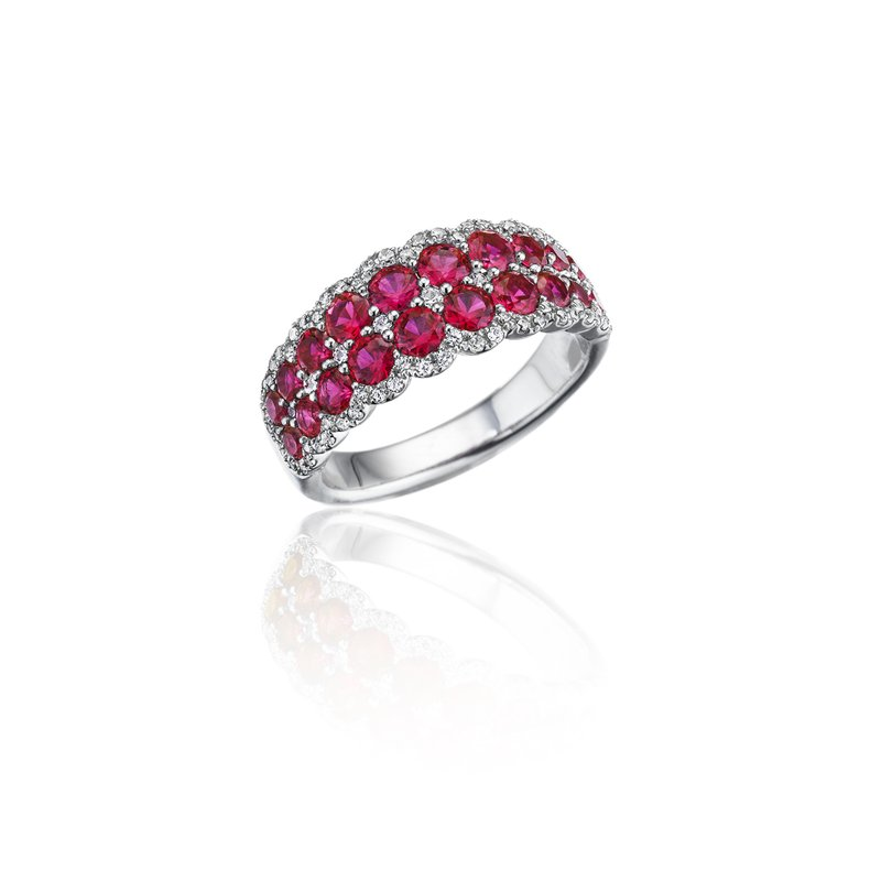 Fana Get Sentimental Ruby and Diamond Double Row Ring