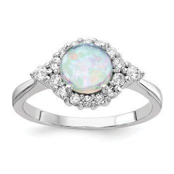 Cheryl M Sterling Silver Rhodium Plated Lab Created Opal & CZ Ring