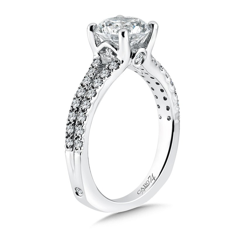Caro74 Split Shank Engagement Ring with Side Stones in 14K White Gold (1-1/2ct. tw.)