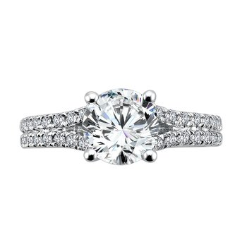 Split Shank Engagement Ring with Side Stones in 14K White Gold (1-1/2ct. tw.)