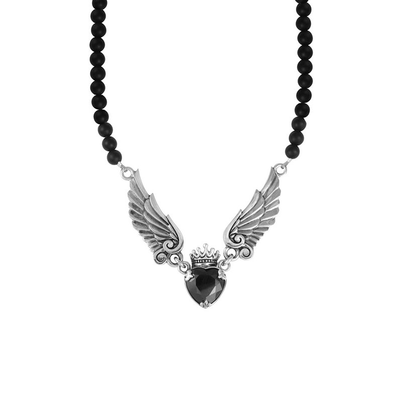 King Baby Crowned Heart W/ Wings Necklace On 6Mm Black Onyx 16