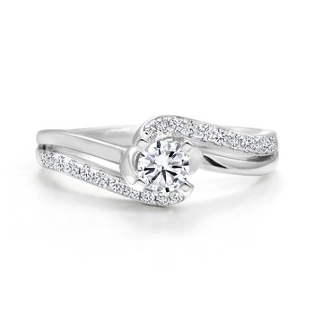 Twist Diamond Engagement Ring with Pavé Diamonds