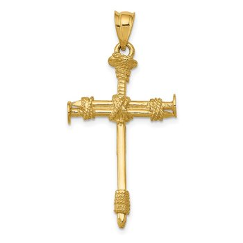 14k Polished Nail Cross Pendant
