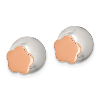 Sterling Silver Polished Rose-tone Flower Front Back Post Earrings
