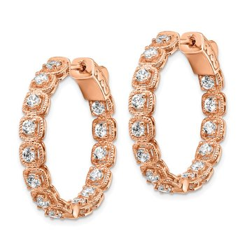 Sterling Silver Rose-tone CZ Hinged In/Out Hoop Earrings