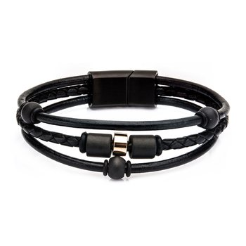 Stainless Steel Carbon Graphite Beads and Black Leather Bracelet with Magnetic Closure