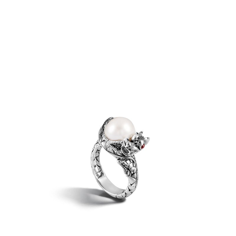 JOHN HARDY Legends Naga Center Stone Ring in Silver, Pearl and Gemstone