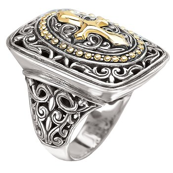 18K/SILVER FILIGREE RECTANGULADESIGN WITH CROSS RING