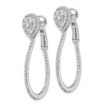 Sterling Silver CZ Omega Back Hoop Earrings