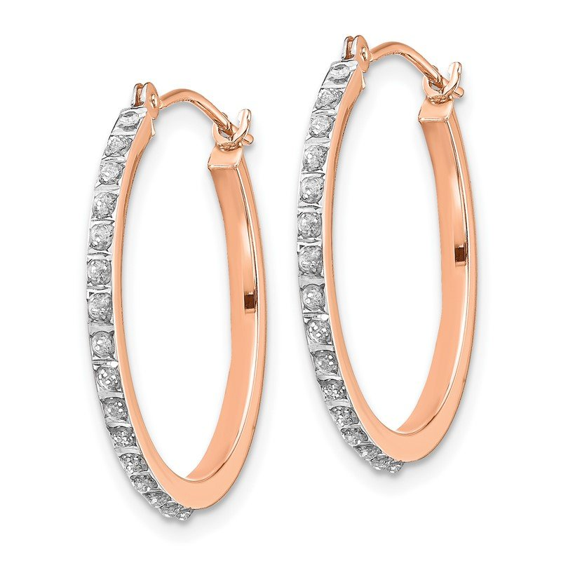 Quality Gold 14k Rose Gold Diamond Fascination Round Hinged Hoop Earrings