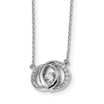 Sterling Silver Platinum-plate Swarovski Crystal/CZ w/two 1in ext. Necklace