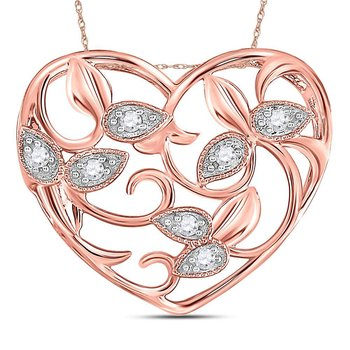 14kt Rose Gold Womens Round Diamond Floral Heart Pendant 1/6 Cttw