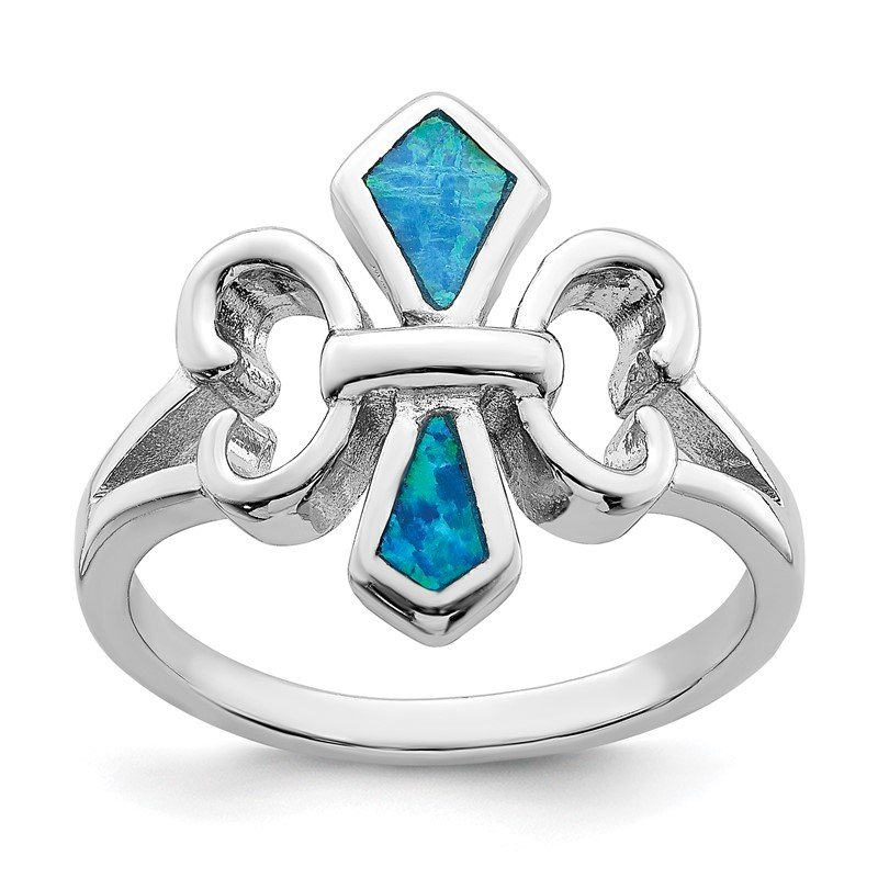 Quality Gold Sterling Silver Rhodium-plated Blue Inlay Created Opal Fleur De Lis Ring