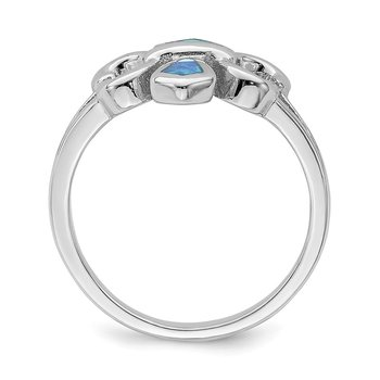 Sterling Silver Rhodium-plated Blue Inlay Created Opal Fleur De Lis Ring