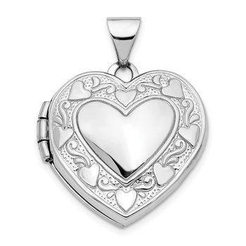 14K White Gold Hearts & LOVE Reversible 19mm Heart Locket Pendant