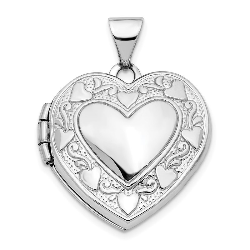 Quality Gold 14K White Gold Hearts & LOVE Reversible 19mm Heart Locket Pendant