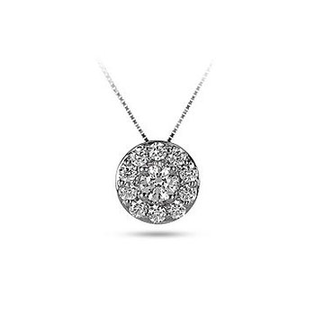 14K WG Diamond Circular Halo Forever Center of My Universe Slider Pendant RBL Center 1/8 cts.