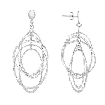 Silver Oval Drop Hammered Earring
