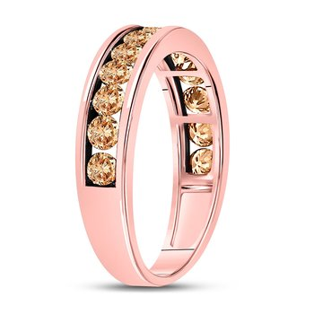10kt Rose Gold Womens Round Brown Color Enhanced Diamond Band Ring 1.00 Cttw