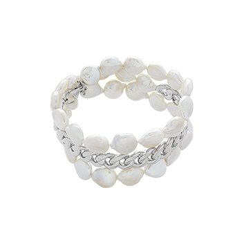 Honora Sterling Silver 12-13mm White Keshi Freshwater Cultured Pearl Wrap Cuff