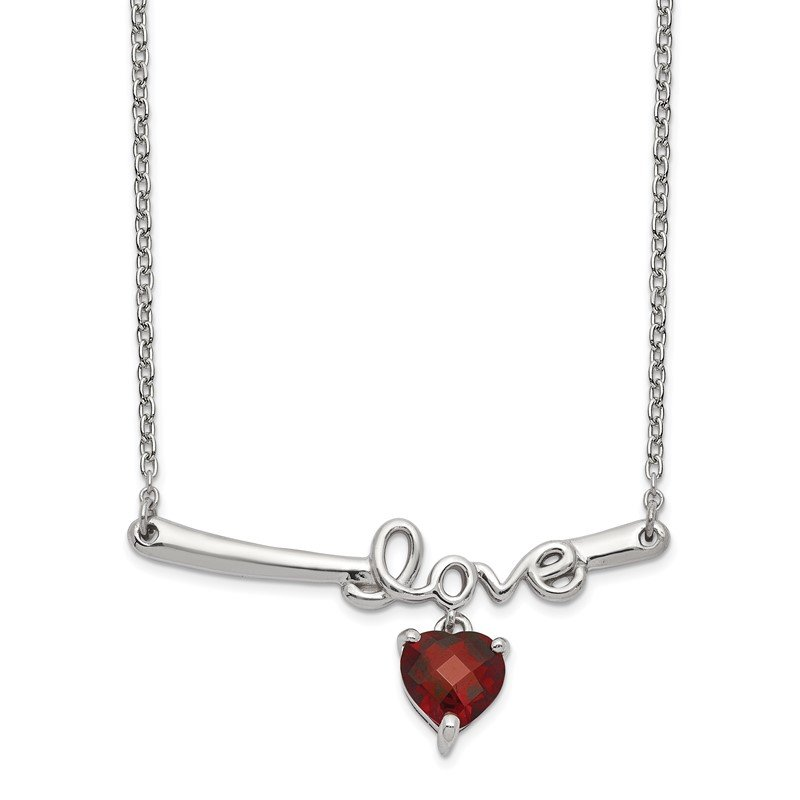 Quality Gold Sterling Silver Rhod-plat Heart Garnet Love w/2.25in ext. Necklace