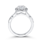Carizza 14K White Gold Round Diamond Halo Engagement Ring (Semi-Mount)