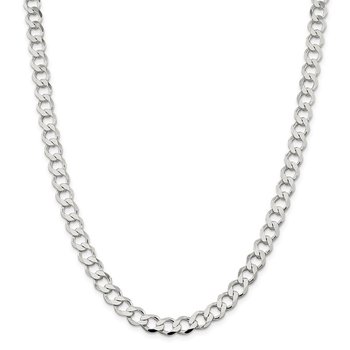 Sterling Silver 8.1mm Semi-solid Flat Curb Chain